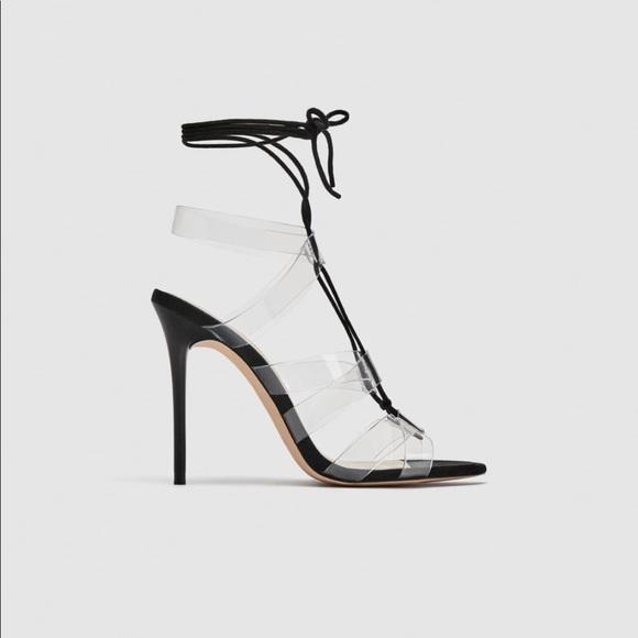 731aa34c9962 NIB Zara Black and Clear Heels